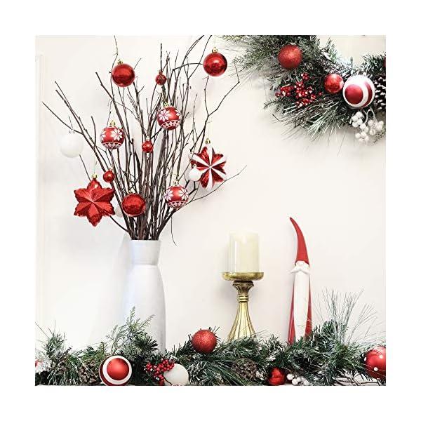 Valery Madelyn Palle di Natale 100 Pezzi di Palline di Natale, 3-5 cm Decorazione Tradizionale Rossa e Bianca Infrangibile con Palle di Natale per la Decorazione Dell'Albero di Natale 5 spesavip