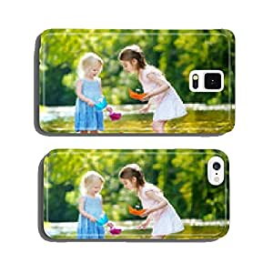 Two sisters playing with paper boats by a river cell phone cover case iPhone5