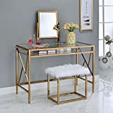 Furniture Of America CM DK6707CPN Lismore Champagne Vanity With Stool Table