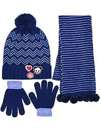 Girls Super Cute 3 Piece Knit Cuffed Pom Beanie Scarf & Gloves Set 4 Colors