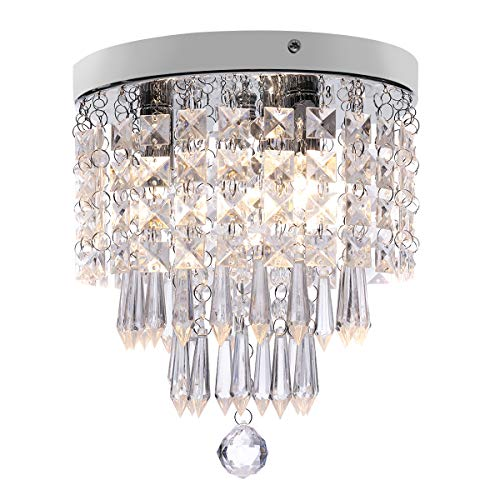 KingSo 3-Light Modern Chandelier Mini Crystal Ceiling Light Elegant Flush Mount Light Fixtures for Bedroom Living Room Hallway, G9 Base