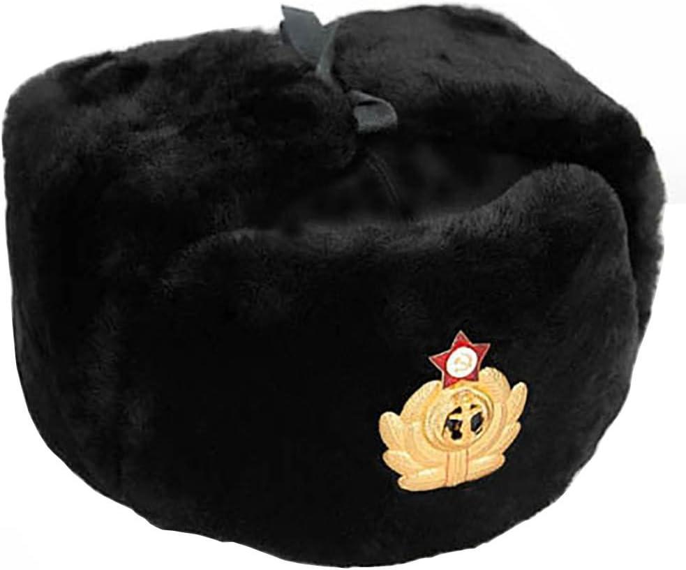 ID/ÉE Cadeaux Cucuba/® Noir Chapeau DE Laine avec Couverture DE LOREILLE Russia Ushanka Marine Russe