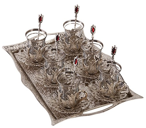 (Turkish Tea Set for 6 - Glasses with Brass Holders Lids Saucers Tray & Glass Spoons,25 Pcs (Silver))