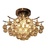 Cheap ANNT Chrome Finish Crystal Chandelier L16″ X W16″ X H11″ with 3 lights, Mini Style Flush Mount Ceiling Light Fixture for Study Room/Office, Dining Room, Bedroom, Living Room