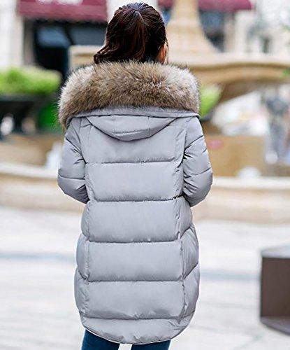 Gris Chaquetas Mujer YOUJIA Sintética Abrigo Invierno Casual Piel Capucha de Acolchado Espesar con Cálido OwgSxdw0