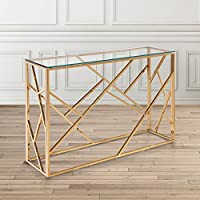 Uptown Club Calypso Gold Metal and Glass Rectangle Console Table