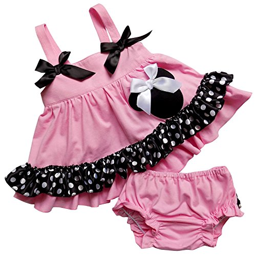 So Sydney Baby Toddler 2 Pc Tank Swing Top and Ruffle Diaper Cover Pants Outfit (S (3-6 Months), Pink Polka Dot Minnie)