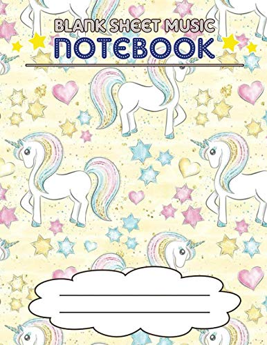 Blank Sheet Music Notebook: Wide Staff Manuscript Paper Notebook, 8 Large Staves Per Page (Unicorns, Stars, Hearts)