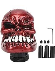 Skull Car Stick Shifter, kleine tanden duivelkopstijl pookknop met 8 MM/10 MM/12 MM adapters passen op de meeste handmatige voertuigen(Rood)