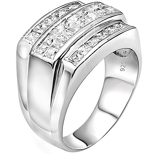 Men's Sterling Silver .925 Designer Triple 3 Row Ring Featuring Invisible and Channel Set Cubic Zirconia (CZ) Stones, Platinum Plated Jewelry