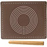 """Cocove Silicone Baking Mat for Pastry Rolling with Measurements(15.7"""" x19.7"""")and a Rolling Pin,Reusable Non-Stick Silicone Mat for Housewife, Cooking Enthusiasts"""