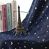 WPKIRA Window Treatments Short Curtains Grommet Room Darkening Stars Print Blackout Window Curtains Panels Drapes For Bay Window/Kids Bed 1 Panel W37 by L47 inch