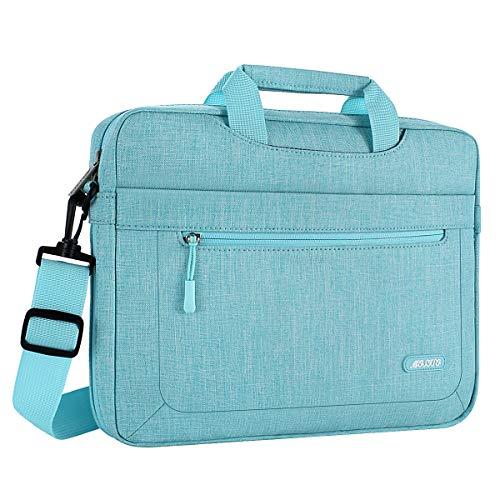 MOSISO Laptop Shoulder Bag Compatible 15-15.6 Inch MacBook Pro, Ultrabook Netbook Tablet with Adjustable Depth at Bottom, Polyester Messenger Briefcase Carrying Handbag Sleeve Case Cover, Hot Blue
