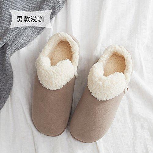 Home fankou cotone pantofole donna coppia inverno spessa coperta, antiscivolo pantofole caldi uomini e ,35-36, nero