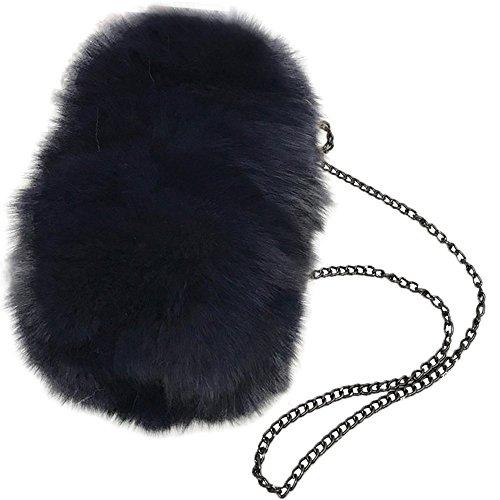 Shoulder clutch He Yu Purple Womens' Blue Bag Handbag Fluffy Lady Fur Purse Feather Real Evening awAzC1q