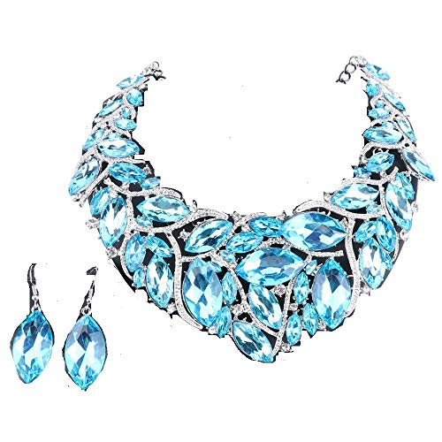 - African Beads Jewelry Sets Women Bridal Crystal Statement Necklace Earring Jewelry Sets (Silver Lake Blue)