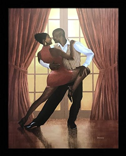 Black 1.5 inch Framed with Doorway to Love, (Dancing Romantic Couple/African American Black Art / 3 (I) - 22x28-15) 22x28 Inch Delancey, Art Print & Poster ()