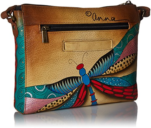 Painted Leather Crossbody Medium Dragonflies Slim Women'S Anna Dancing Anuschka Hand q40RwSnE