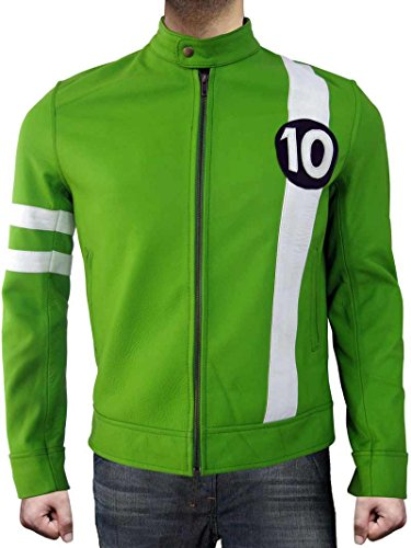 fjackets Alien Swarm Ryan Kelley Ben 10 Celebrity Costume Green Leather Jacket (S, BEN10 Green)