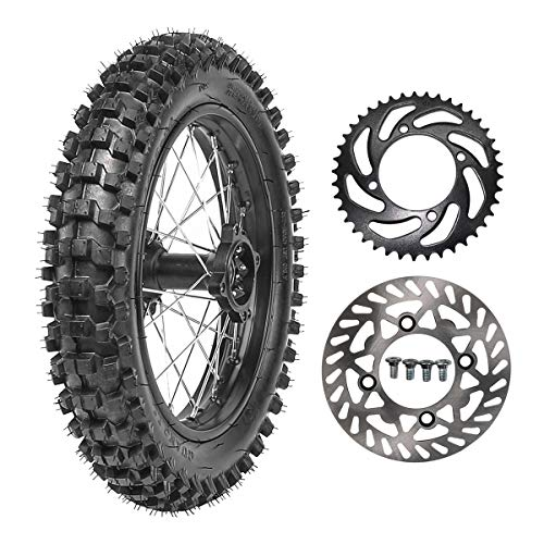 TDPRO 90/100-14 Wheel Tire and Rim Inner Tube With 15mm Bearing & 190mm Rear Brake Disc Rotor & 41T Sprocket for Dirt Pit Bike