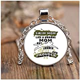 COLOSTORE I'm A Swim Mom Necklaces, Like A Normal Mom Necklaces (Necklace - Nickel - White)