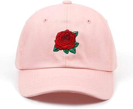 POIUIU Gorra de béisbol Nueva Rosa roja Flor Gorra de béisbol ...