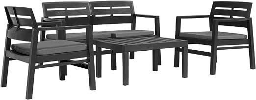Tidyard Conjunto de Mesa y 1 Banco y 2 Butacas,Conjunto de Muebles de Jardín para Balcón Terraza Patio,con 4 Cojines de Asiento,Plástico Gris Antracita: Amazon.es: Hogar
