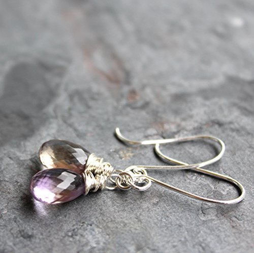 Ametrine Earrings Sterling Silver Faceted Gemstone Dangles, Pink and Honey Briolettes