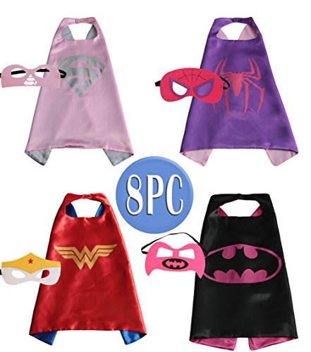 Child Superhero Costume, Cape and Mask Set for Kids, Birthday Party DIY Children (Little Girls Dress Up)