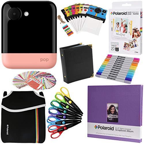 Polaroid POP Instant Camera (Pink) Gift Bundle + Zink Paper (20 Sheets) + 8×8 Cloth Scrapbook + Pouch + 6 Edged Scissors + 100 Sticker Border Frames + Markers + Hanging Frames + Album