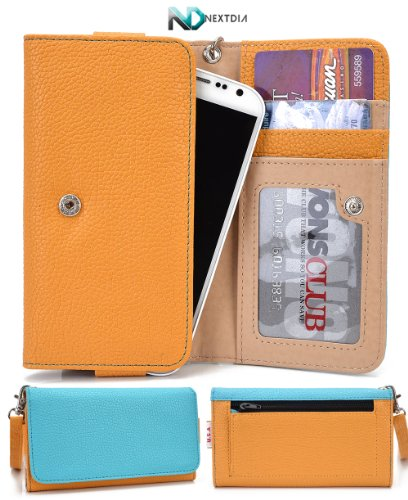 Smartphone Wallet Cover Case fits Lenovo Vibe X Golden Dream Yellow Turquoise Blue with Hand Strap + ND Cable Tie