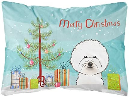 Caroline s Treasures BB1589PW1216 Christmas Tree and Bichon Frise Fabric Decorative Pillow, 12H x16W, Multicolor