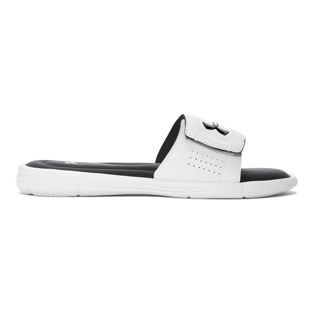 Under Armour mens Ignite V Slide Sandal, White (100)/Black, 10