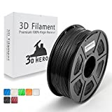 PETG Fliament 1.75MM- Black 3D Printer Filament 1 kg Spool(2.2lbs), Dimensional Accuracy +/- 0.02 mm,Glossy Surface,No Clogging