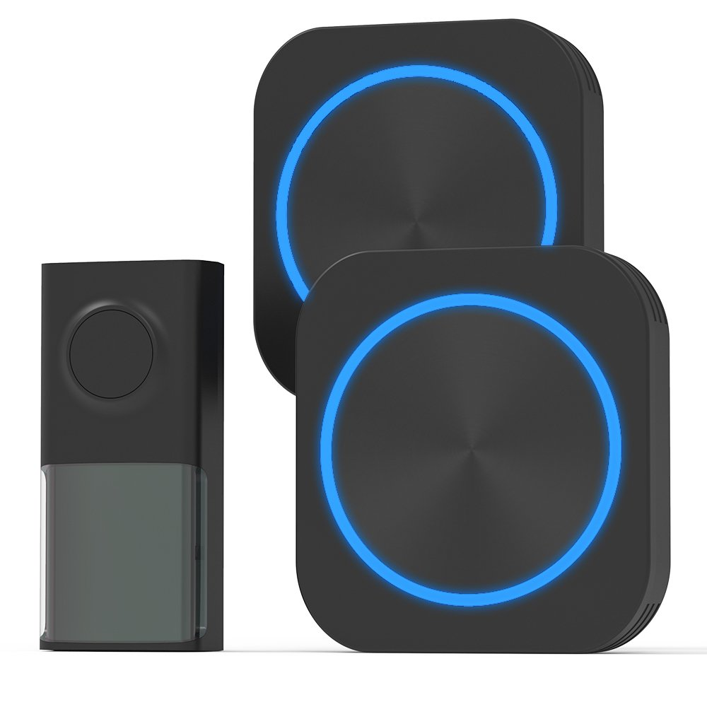 Wireless Door Bell, Cambond Waterproof Doorbell with 2 Receives Plug in, 1 Battery Operated Push Button, 500 Feet Operating Range 58 Ringtones 4 Volume Levels LED Flash for Office Home Business, Black