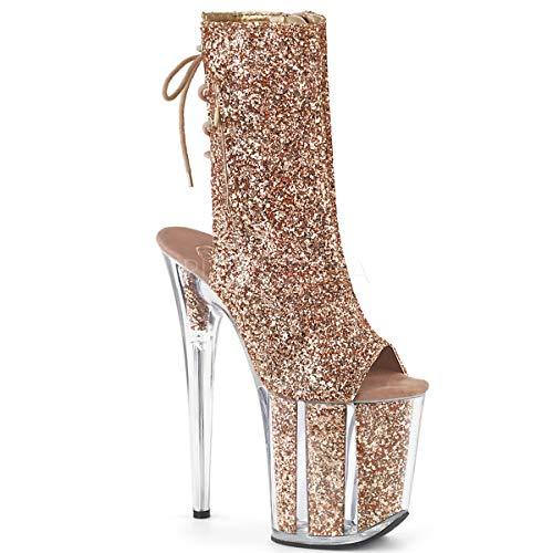 8 Inch Heel, 4 Inch Platform Glitter Lace-Up Back Ankle Boot, Side Zip (Rose Gold Glitter/Rose Gold Glitter;5)
