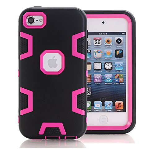 Price comparison product image KAMII iPod Touch 6 Case,  iPod Touch 5 Case,  3in1 Shock Absorbing Hard PC+Soft Silicone Hybrid Rubber Combo Heavy Duty Armor Hard Case Cover for Apple iPod Touch 5 6th Generation (Black+Rose)