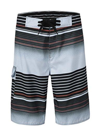 NONWE Men's Tropical Stripe Board Shorts Swim Trunks with Mesh Lining Gray ()