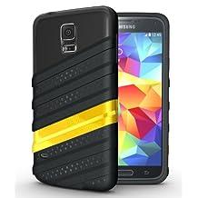 [WAV-HYBRID] TUDIA Samsung Galaxy S5 Case Protective Dual Material Bumper Case for Samsung Galaxy S5 / Galaxy SV / Galaxy S V (2014) (Black/Yellow)
