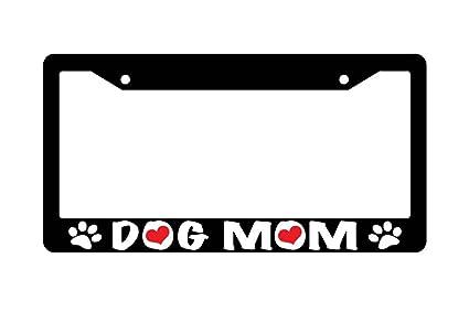 Amazon.com: Dog Mom Hearts Black Plastic License Plate Frame 229 ...
