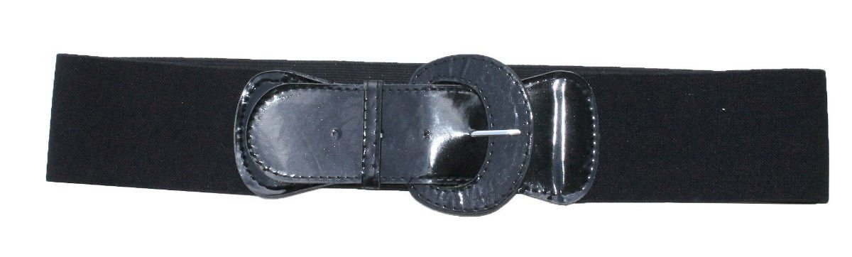 Funfash Plus Size New Black Patent Leather Buckle Stretchy Elastic Belt 2X