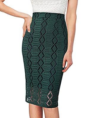 VFSHOW Womens Elegant Lace High Waist Slim Fitted Casual Party Pencil Skirt