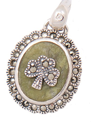 """[S44877] Shamrock with Marcasite and Connemara Marble Oval Pendant with 18"""" Silver Chain"""