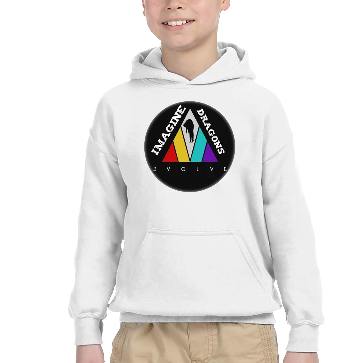 2-6 Year Old Childrens Hooded Pocket Sweater Classical Elegance and Originality Imagine Dragons Logo White