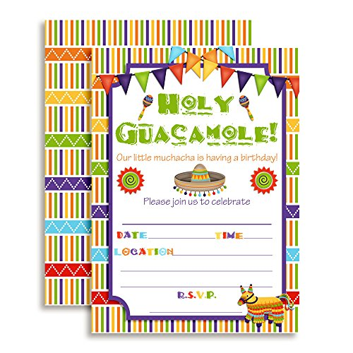 Fiesta Holy Guacamole Muchacha Birthday Celebration Invitations for Girls, Ten 5