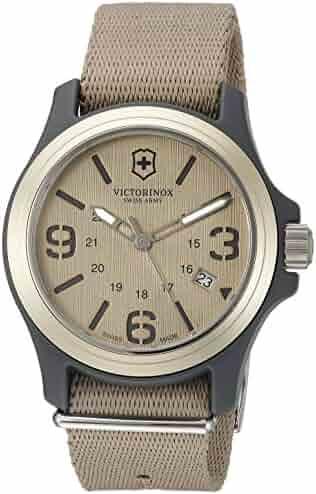b9372bb14 Victorinox Men's 241516 Original Analog Display Swiss Quartz Beige Watch