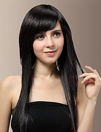 Xh G Long Straight Fix Face Natural Black Side Bangs Hair Wig