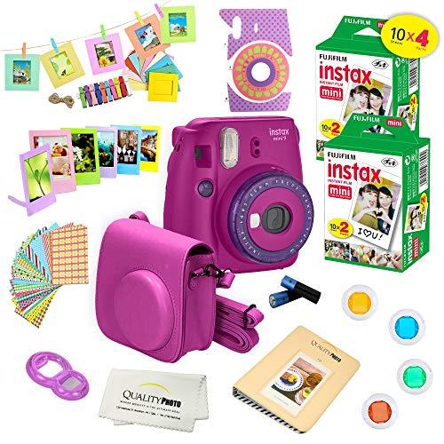 Fujifilm Instax Mini 9 Camera + Fuji INSTAX Instant Film (40 Sheets)14 PC Instax Accessories kit Bundle, Includes; Instax Case + Album + Frames & Stickers + Lens Filters + More (Purple)
