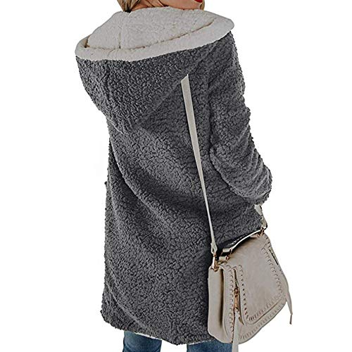 Womens Gris negro Gris Bolsillos L Capucha Xl Abierto Felpa Winter Abrigo Fleece M Punto Lilicat Y Longitud S Chaqueta Con Media De Delantero Warm 1pgnU7q0