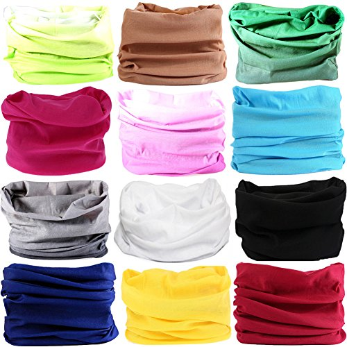 16-in-1 12PCS/8PCS/6PCS Multifunctional Headwear yoga Sports Stretchable Casual Headband Seamless Uv Solid Moisture Neckwarmer Headwrap Mask Bandana Scarf (12PCS-Fluorescent (Bamboo Cotton Headband)